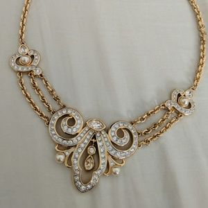 Swarovski Necklace Gold plated with pearls